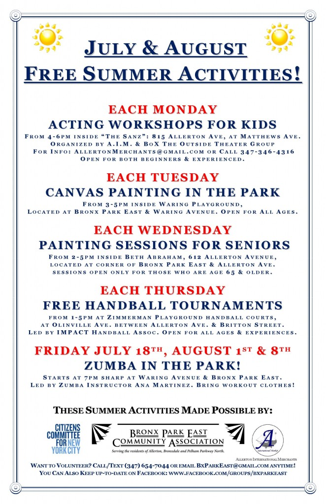 Bronx Park East Summer events