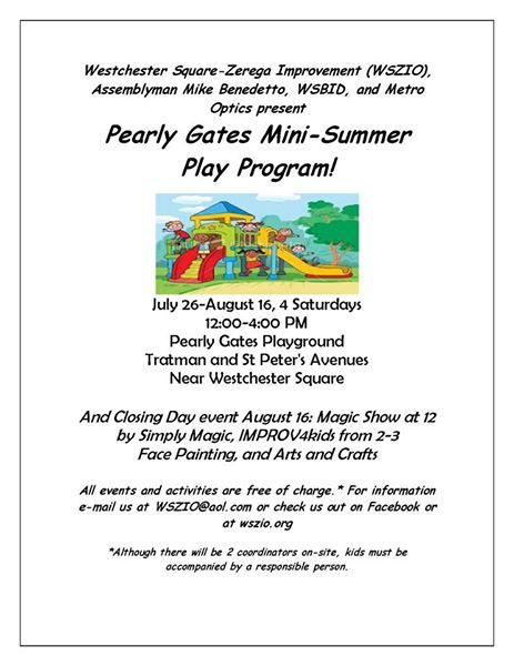 Pearly Gates Mini Summer Play Program