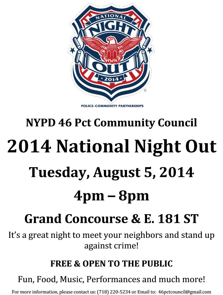 NYPD 46 Pct Community Council 2014 National Night Out