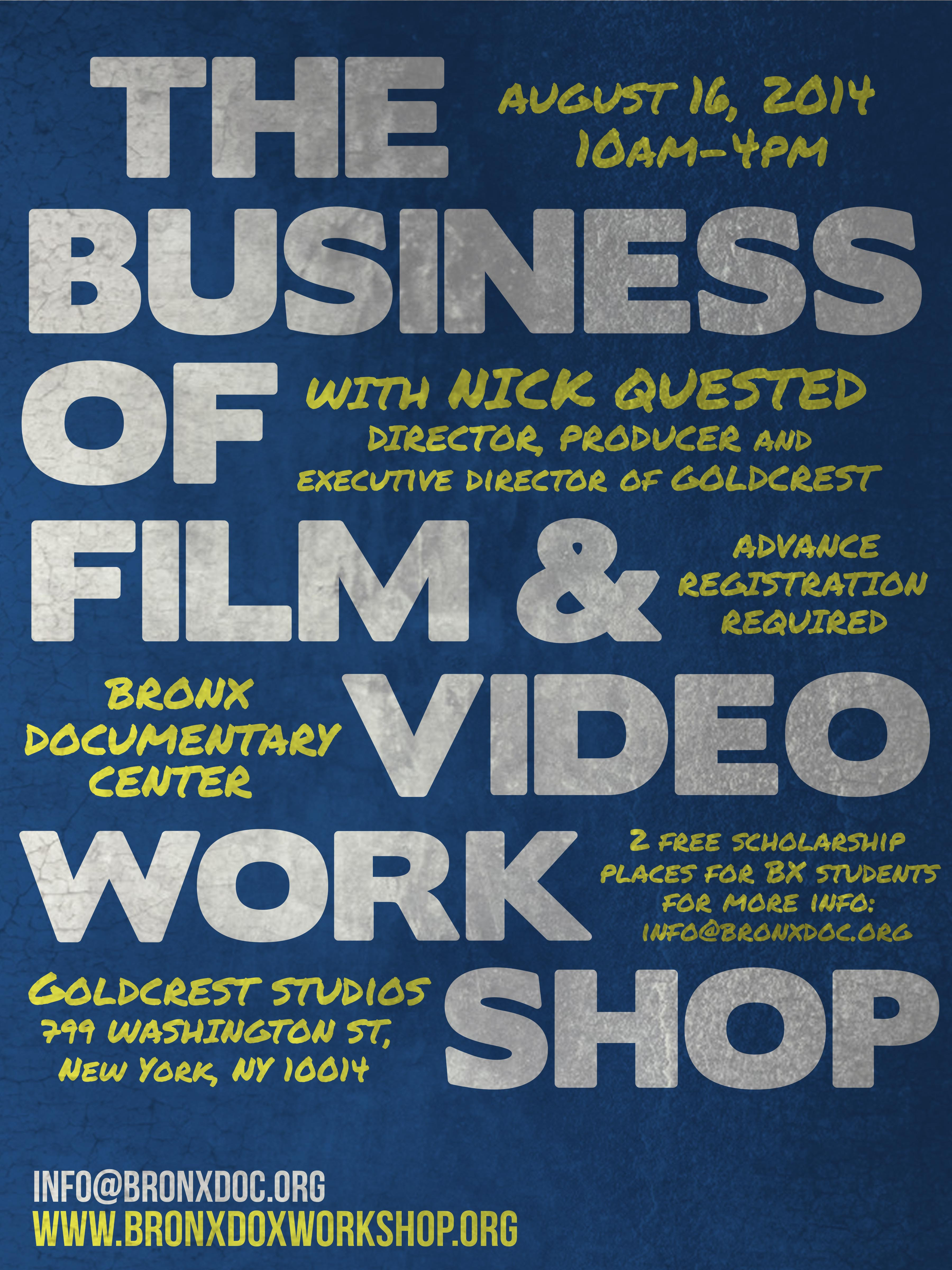 Register: The Business of Film & Video One-day Intensive Workshop