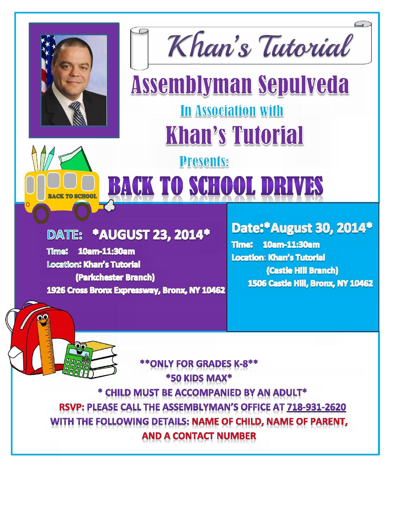 Khan's Tutorial Back to School Drive