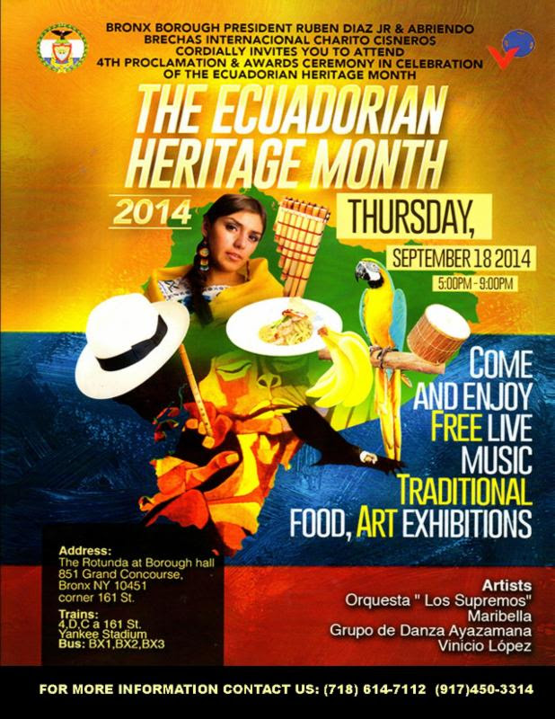 4th Proclamation & Awards Ceremony in Celebration of the Ecuadorian Heritage Month