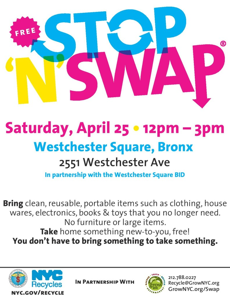 Free Stop 'N' Swap Community Reuse Event in Westchester Square