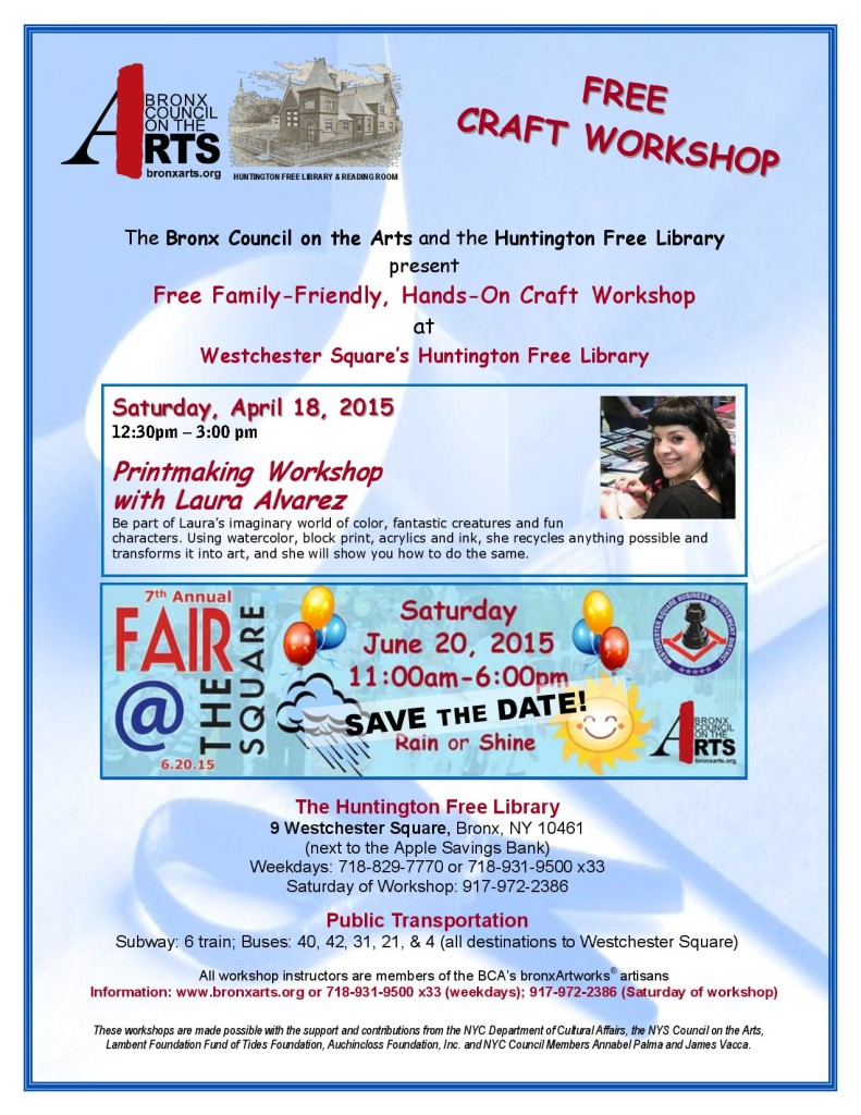 Free Craft Workshop at Huntington Free Library