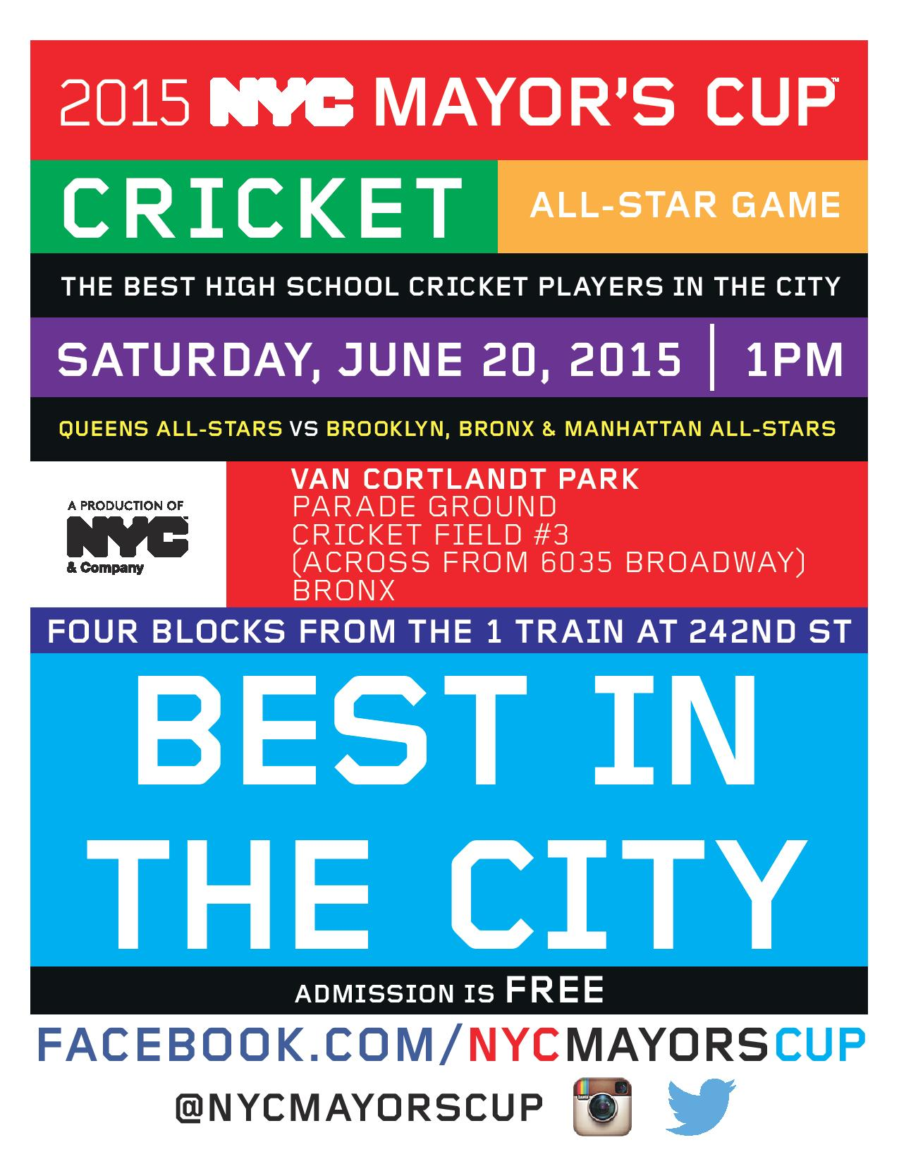 2015 NYC Mayor's Cup Cricket All-Star Game at Van Cortlandt Park