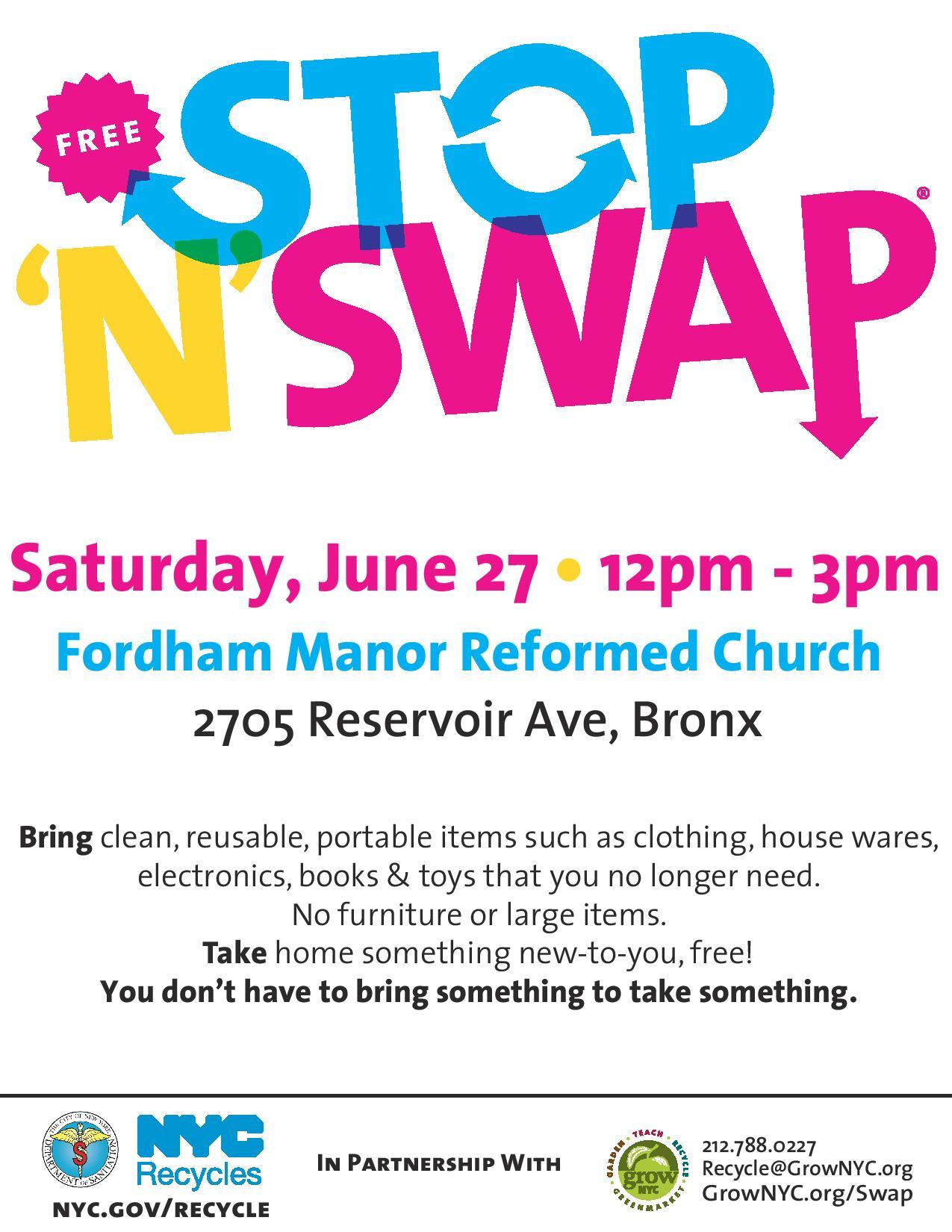 Free Stop 'N' Swap Community Reuse Event