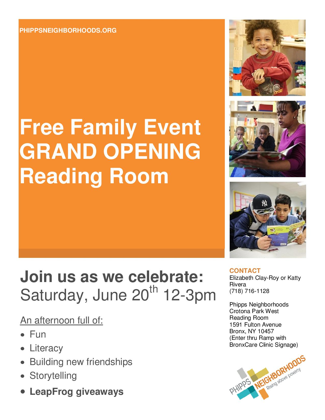 Grand Opening of New Family Reading Room