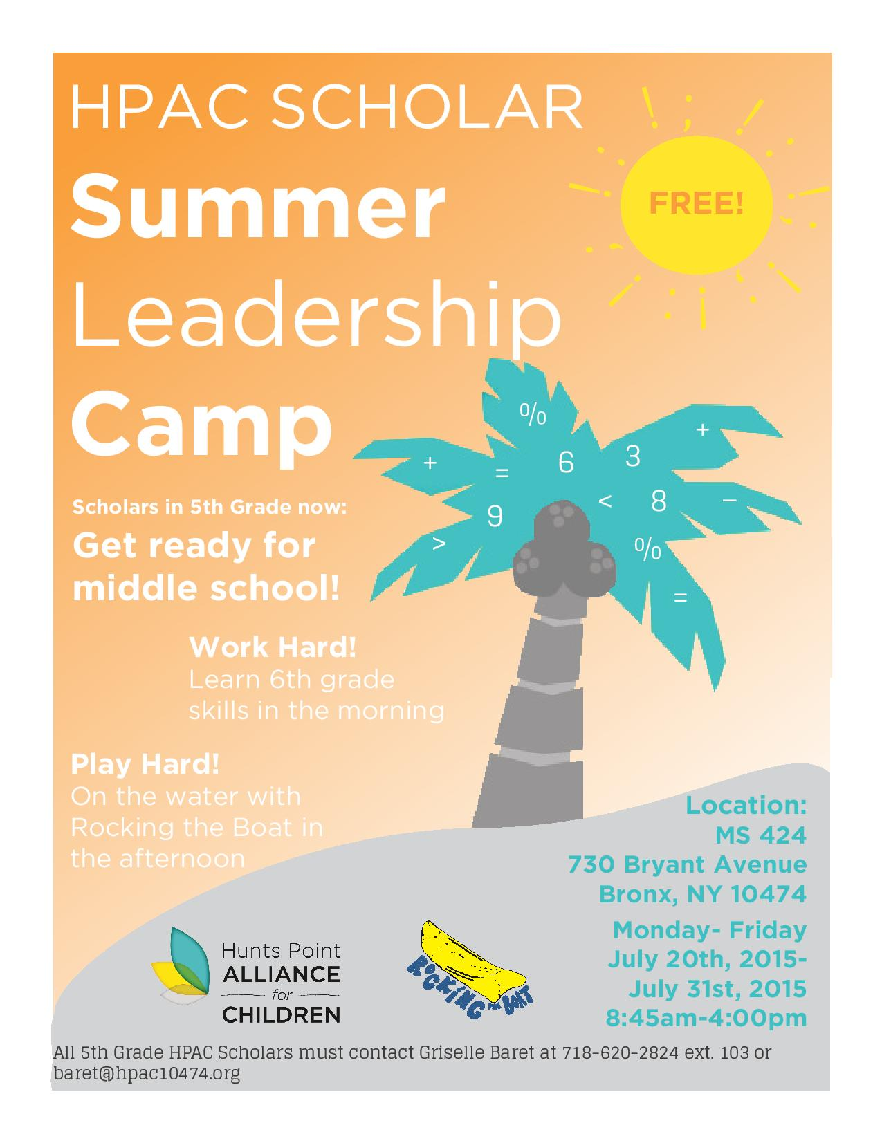 FREE Summer Camp for Rising 5th and 6th Graders
