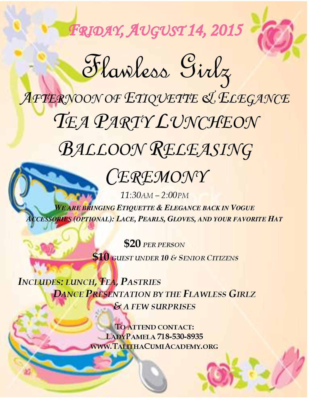 Afternoon of Etiquette & Elegance Tea Party Luncheon