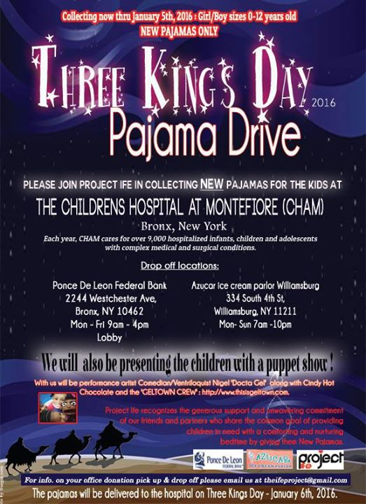 Three Kings Day Pajama Drive