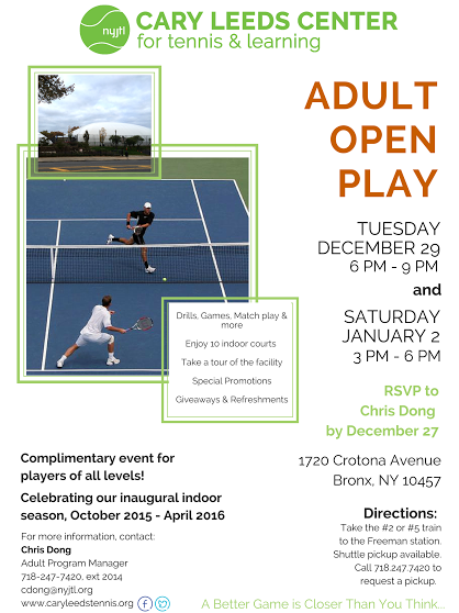 Sign Up for Adult Open Play at Cary Leeds Center for tennis & learning