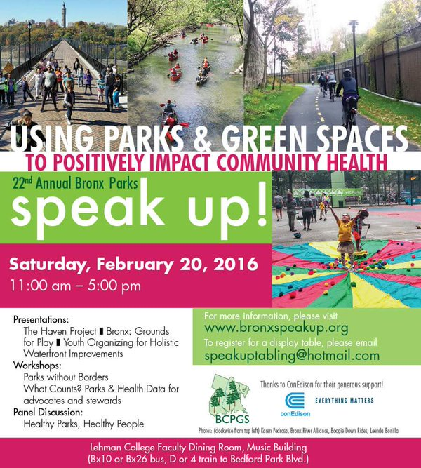 22nd Annual Bronx Parks Speak Up!