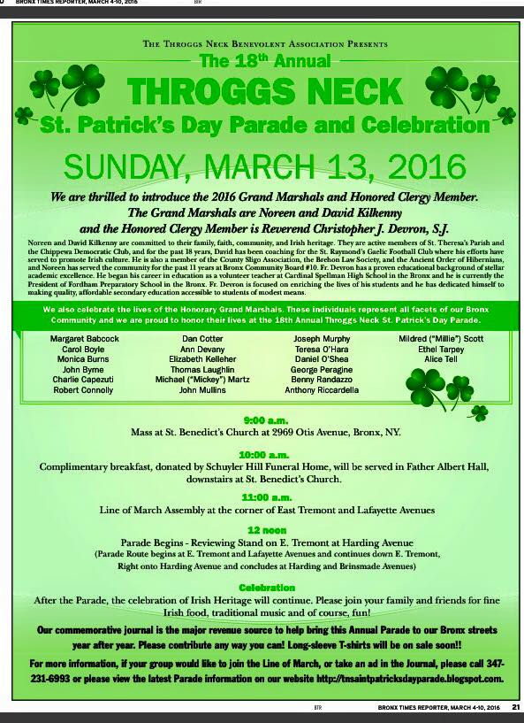 18th Annual Throggs Neck St. Patrick's Day Parade and Celebration
