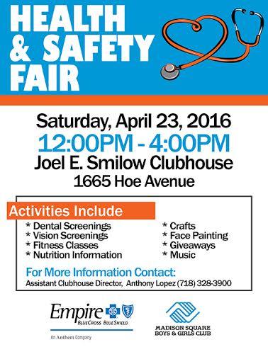 Madison Square Boys & Girls Club Free Health & Safety Fair