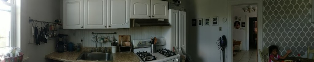 Panoramic inside kitchen
