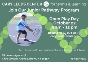 FREE: Junior Play Day at Cary Leeds Center for Tennis and Learning