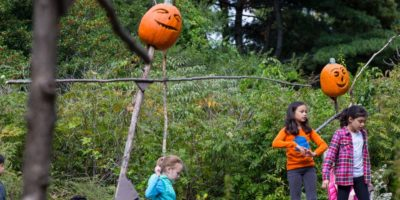 Scarecrows & Pumpkins in the Adventure Garden