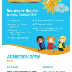 Registration for Dual Language Summer Camp and Saturday Classes