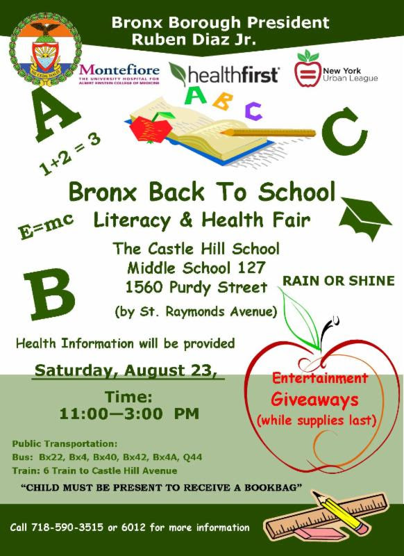 Bronx Back To School Literacy & Health Fair
